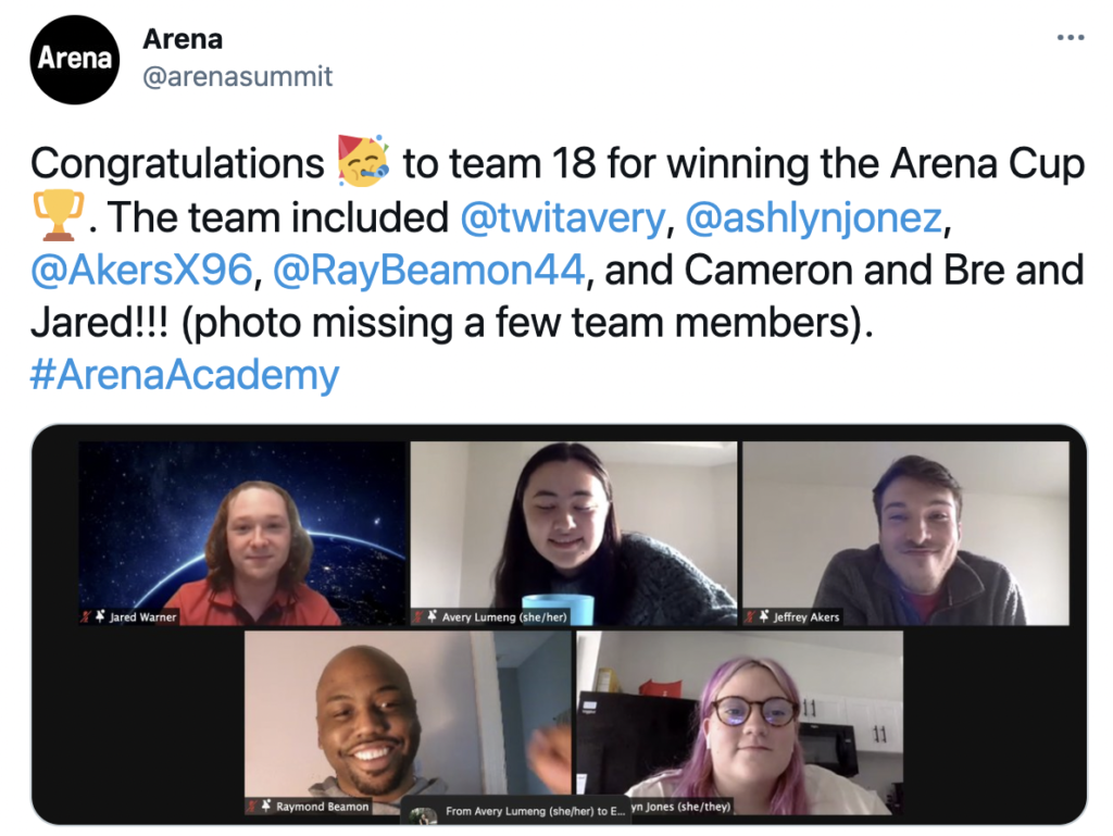 Tweet: Congratulations to team 18 for winning the Arena Cup.